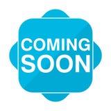 Błękit kwadratowa ikona przychodzi wkrótce Fotografia Stock