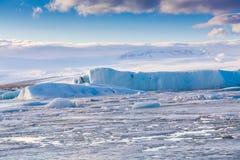Błękit Lodowy jezioro, Jokulsarlon lodowa laguna Obraz Royalty Free