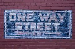 Błękit malował jeden sposobu znaka ulicznego Zdjęcie Royalty Free