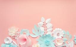 Błękit, menchie i biała księga kwiaty na różowym tle, zdjęcia royalty free