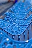 Błękit, metal ławki z pięknymi kwiatami ornamentacyjnymi Fotografia Royalty Free