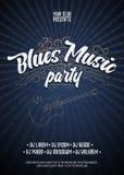 Błękit muzyki przyjęcie Plakatowy tła grunge szablon Ręka rysujący Typograficzny plakat lub ulotka 10 tło projekta eps techniki w ilustracji