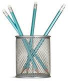 błękit ołówkowy ołówków garnka srebro Zdjęcia Royalty Free