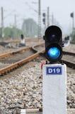 Błękit pociągu sygnał Obrazy Royalty Free