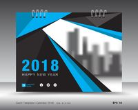 Błękit pokrywy kalendarza 2018 szablon, broszury pokrywa Zdjęcie Royalty Free