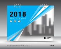 Błękit pokrywy kalendarza 2018 szablon, książkowej pokrywy układ Obrazy Stock
