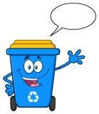 Błękit Przetwarza kosz kreskówki maskotki charakteru falowanie Dla Witać royalty ilustracja