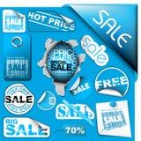 błękit przylepiać etykietkę sprzedaż znaczków ustaleni bilety ilustracja wektor