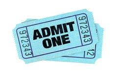 Błękit przyznaje jeden filmu bilety odizolowywał biel zdjęcie royalty free