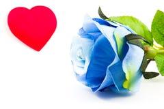 Błękit róża i serce Obrazy Royalty Free