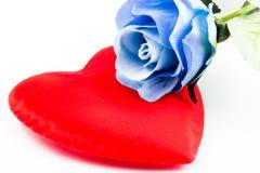 Błękit róża na sercu Zdjęcie Royalty Free