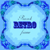 Błękit rama z malującymi pawiami i retro etykietką Fotografia Stock