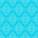 Błękit retro kwiecisty wzór Zdjęcia Royalty Free