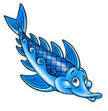 Błękit ryba, kreskówka Zdjęcie Royalty Free