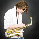 błękit saksofonowi Obrazy Stock