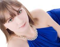 błękit smokingowa urocza obrazka kobieta obrazy stock