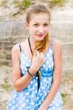 błękit sukni mody dziewczyny lokaci polki urbex Obrazy Stock
