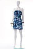 Błękit suknia na białym mannequin Obrazy Royalty Free