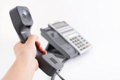 błękit telefon zamknięty biurowy strzelający tonującym tonować Fotografia Stock