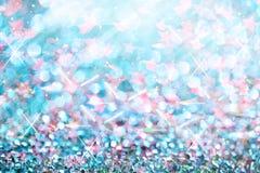 Błękit zaświeca świątecznych rozmytych abstrakcjonistycznych boże narodzenia twinkled jaskrawi półdupki Zdjęcia Royalty Free