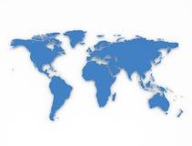 Błękit zarysowywa 3d światową mapę Obrazy Stock