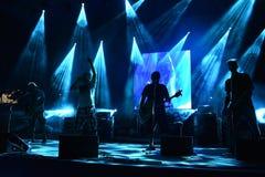 Błękita światło iluminuje scenę Zdjęcie Stock