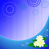 Błękita deseniowy tło z pięknymi kwiatami Zdjęcie Royalty Free