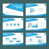Błękita falowego wielocelowego infographic elementu płaski projekt ustawia dla prezentaci Zdjęcia Stock