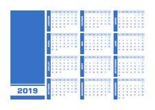 Błękita francuza 2019 kalendarz ilustracji
