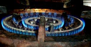 Błękita gaz płonie palenie zdjęcie stock