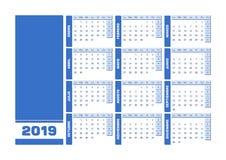Błękita 2019 hiszpańszczyzn kalendarz Printable krajobrazowa wersja royalty ilustracja