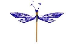 Błękita i bielu farba zrobił dragonfly Zdjęcia Royalty Free