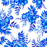 Błękita i bielu wzór z kwiatami Zdjęcia Royalty Free