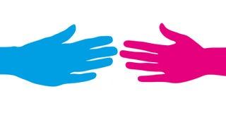 Błękita i menchii ręka daje uściskowi dłoni Zdjęcia Stock