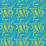 Błękita i Yellos bezszwowy wzór narzędzia Ilustracja Wektor
