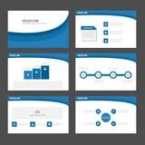 Błękita Infographic elementów ikony prezentaci falowego szablonu płaski projekt ustawia dla reklamowej marketingowej broszurki ul Fotografia Royalty Free