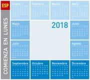 Błękita kalendarz dla roku 2011, tydzień zaczyna na Poniedziałku Obrazy Stock