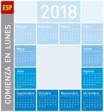 Błękita kalendarz dla roku 2018 w hiszpańszczyznach, Zdjęcia Stock