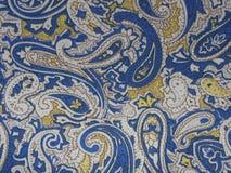 Błękita, koloru żółtego i bielu tkaniny tekstura, zdjęcia stock