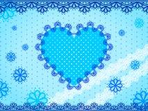 Błękita koronkowy serce na błękitnym kropkowanym tle Obrazy Royalty Free