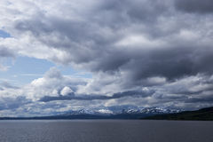 Błękita krajobraz z chmurami Obraz Royalty Free