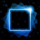 Błękita kwadrat Wykłada tło Neonowego laser Zdjęcie Stock