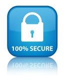 100% błękita kwadrata bezpiecznie specjalny cyan guzik Zdjęcie Royalty Free