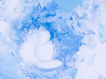 Błękita marmurowa kreatywnie abstrakcjonistyczna ręka malujący tło Zdjęcia Stock