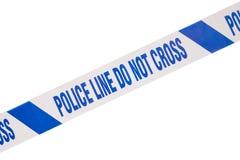 Błękita miejsca przestępstwa milicyjna taśma i biel kopii przestrzeń zdjęcie royalty free