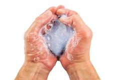 Błękita mydło w rękach Obrazy Stock