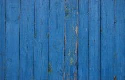 Błękita ogrodzenie drewniane deski zdjęcie royalty free