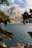 Błękita Seascape i zatoka wlec Golitsyn, punkt zwrotny Crimea, Nowy świat obrazy stock