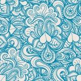 Błękita wzór z sercami i kwiatami ilustracja wektor