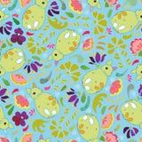 Błękita wzór z zielonym lisem i kwiatami royalty ilustracja